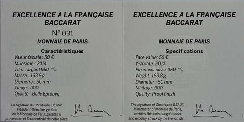 Zertifikat:Frankreich : 50 Euro 250 Jahre Baccarat Kristallglasmanufaktur  2014 PP
