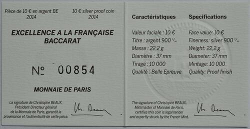 Zertifikat:Frankreich : 10 Euro 250 Jahre Baccarat Kristallglasmanufaktur  2014 PP