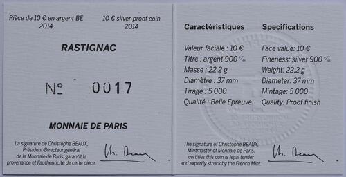 Zertifikat:Frankreich : 10 Euro Rastignac  2014 PP