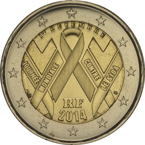 Rückseite:Frankreich : 2 Euro Welt AIDS Tag  2014 bfr