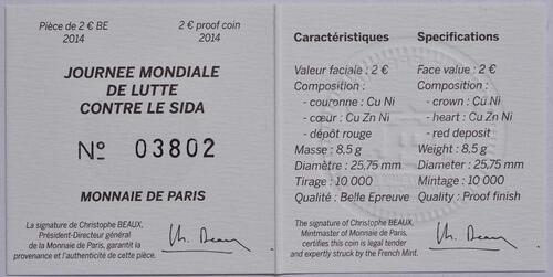 Zertifikat :Frankreich : 2 Euro Welt AIDS Tag  2014 PP