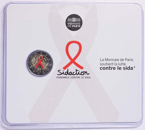 Lieferumfang :Frankreich : 2 Euro Welt AIDS Tag  2014 Stgl.