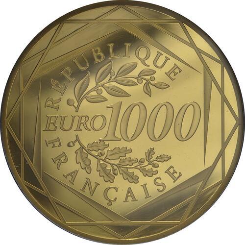 Rückseite:Frankreich : 1000 Euro Gallischer Hahn  2014 Stgl.