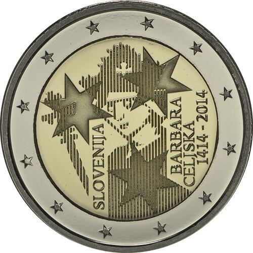 Rückseite:Slowenien : 2 Euro Jahrestag der Krönung von Barbara von Cilli  2014 PP