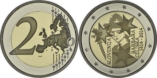 Lieferumfang :Slowenien : 2 Euro Jahrestag der Krönung von Barbara von Cilli  2014 PP