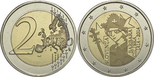 Lieferumfang :Slowenien : 2 Euro Jahrestag der Krönung von Barbara von Cilli  2014 bfr