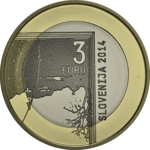 Rückseite:Slowenien : 3 Euro 200. Jahrestag der Geburt des Fotografen Janez Puhar  2014 PP