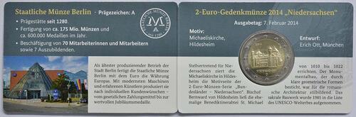 Lieferumfang :Deutschland : 2 Euro Niedersachsen - Michaeliskirche Hildesheim  2014 Stgl.