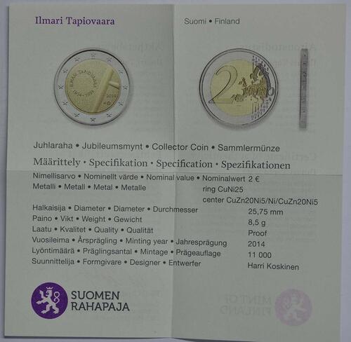 Zertifikat :Finnland : 2 Euro Tapiovaara  2014 PP