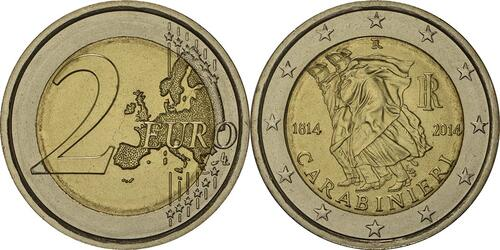 Lieferumfang :Italien : 2 Euro Carabinieri  2014 bfr