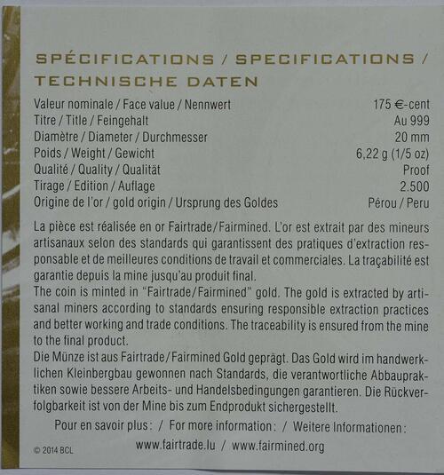 Zertifikat:Luxemburg : 175 Cent 175 Jahre Unabhängigkeit  2014 PP