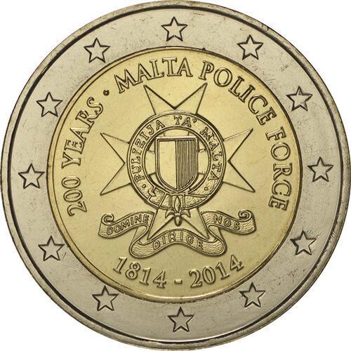 Rückseite:Malta : 2 Euro 200 Jahre Polizei in Malta  2014 bfr