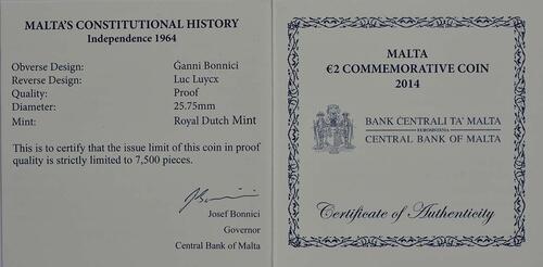 Zertifikat:Malta : 2 Euro Unabhängigkeit 1964  2014 PP