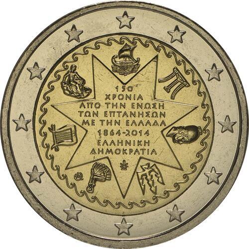 Rückseite:Griechenland : 2 Euro 150 Jahre Union der Ionischen Inseln mit Griechenland  2014 bfr