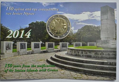 Lieferumfang :Griechenland : 2 Euro 150 Jahre Union der Ionischen Inseln mit Griechenland  2014 Stgl.