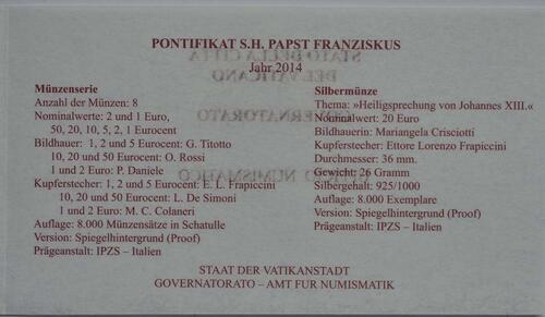 Zertifikat:Vatikan : 23,88 Euro KMS Vatikan mit 20 Euro Gedenkmünze Heiligsprechung Papst Johannes XXIII  2014 PP
