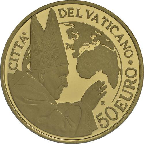 Vorderseite:Vatikan : 53,88 Euro KMS Vatikan mit 50 Euro Gedenkmünze Heiligsprechung Papst Johannes Paul II.  2014 PP