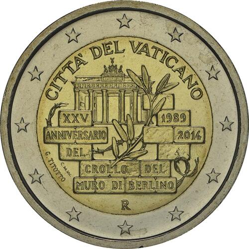 Rückseite :Vatikan : 2 Euro 25. Jahrestag Mauerfall Berlin  2014 Stgl.