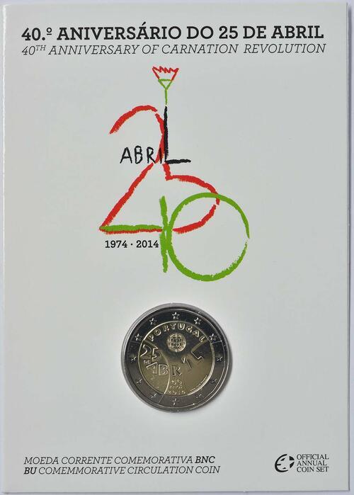 Lieferumfang :Portugal : 2 Euro Nelkenrevolution  2014 Stgl.