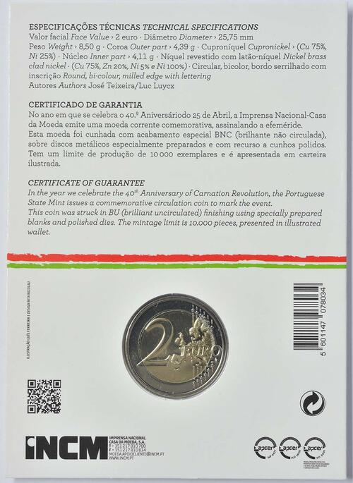 Zertifikat:Portugal : 2 Euro Nelkenrevolution  2014 Stgl.