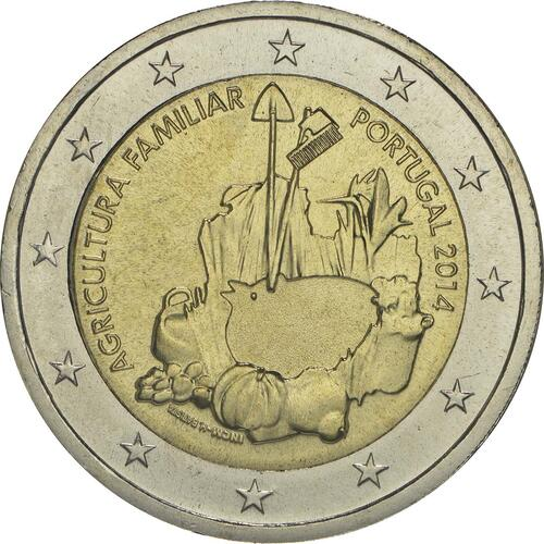 Rückseite :Portugal : 2 Euro Internationales Jahr der familiären Landwirtschaft  2014 bfr