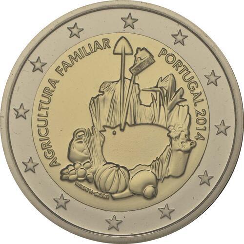 Rückseite :Portugal : 2 Euro Internationales Jahr der familiären Landwirtschaft  2014 Stgl.