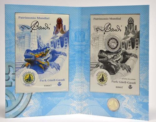 Lieferumfang :Spanien : 2 Euro Werke des Antonio Gaudi + Briefmarke  2014 Stgl.