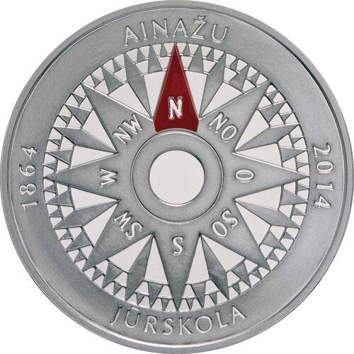 Vorderseite:Lettland : 5 Euro 150 Jahre Ainazi Marineschule  2014 PP
