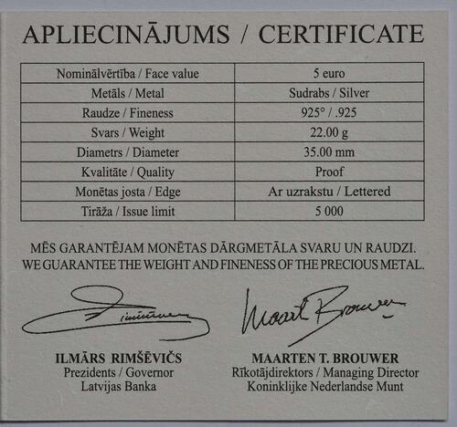 Zertifikat:Lettland : 5 Euro 150 Jahre Ainazi Marineschule  2014 PP