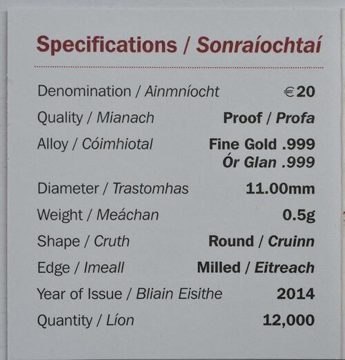 Zertifikat:Irland : 20 Euro Schlacht von Clontarf  2014 PP