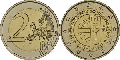 Lieferumfang :Slowakei : 2 Euro 10. Jahrestag EU-Beitritt  2014 bfr