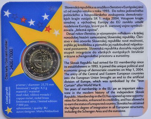 Rückseite:Slowakei : 2 Euro 10. Jahrestag EU-Beitritt  2014 bfr