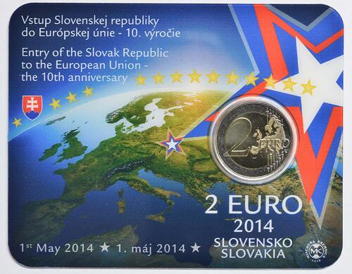 Lieferumfang:Slowakei : 2 Euro 10. Jahrestag EU-Beitritt  2014 bfr