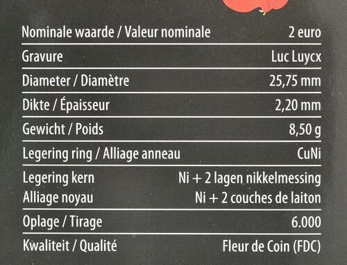 Zertifikat:Belgien : 2 Euro 100. Jahrestag des Beginns des 1. Weltkrieges  2014 Stgl.