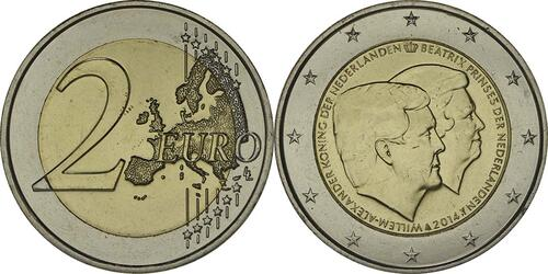 Lieferumfang :Niederlande : 2 Euro Doppelportrait  2014 bfr