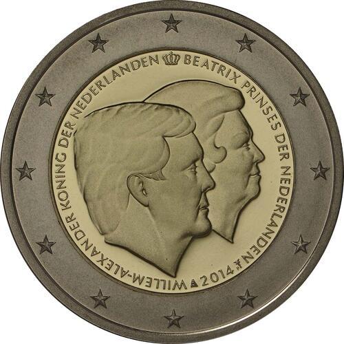 Rückseite:Niederlande : 2 Euro Doppelportrait  2014 PP