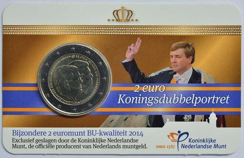 Lieferumfang :Niederlande : 2 Euro Doppelportrait  2014 Stgl.