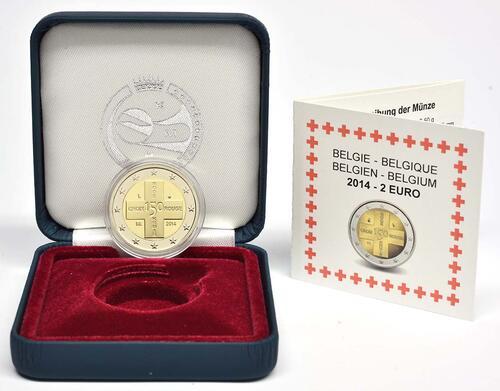Lieferumfang:Belgien : 2 Euro 150 Jahre Rotes Kreuz in Belgien  2014 PP