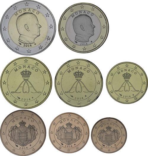 Lieferumfang:Monaco : 3,88 Euro KMS Monaco 2014 lose 1,2,5,10,20,50 Cent ; 1+2 Euro  2014 bfr
