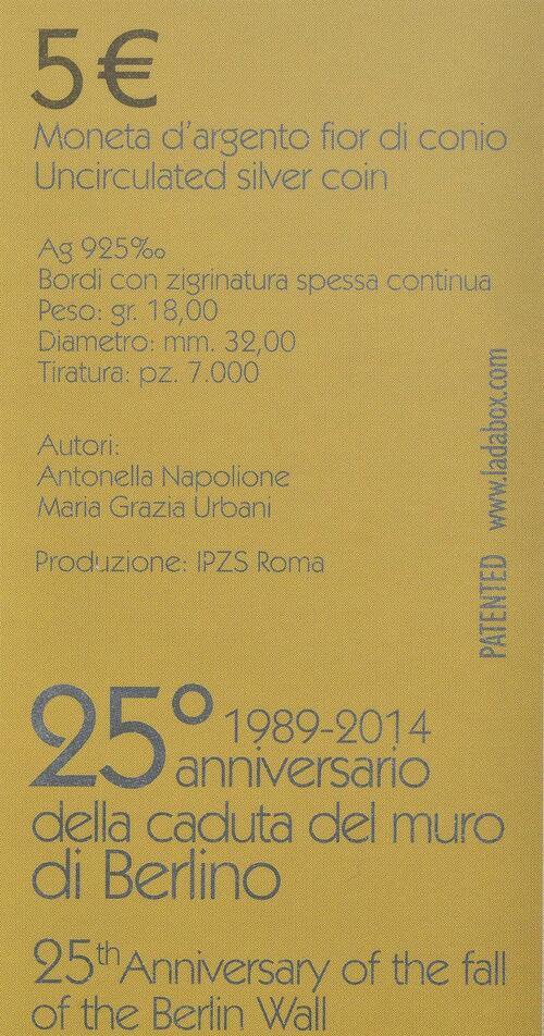Zertifikat:San Marino : 5 Euro 25. Jahre Fall der Berliner Mauer  2014 Stgl.