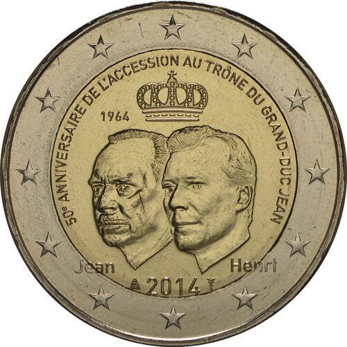 Rückseite :Luxemburg : 2 Euro 50 Jahre Thronbesteigung Großherzog Jean  2014 bfr