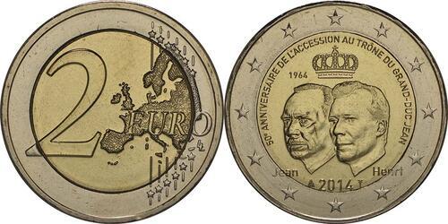 Lieferumfang :Luxemburg : 2 Euro 50 Jahre Thronbesteigung Großherzog Jean  2014 bfr