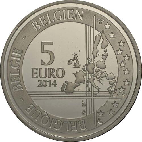 Rückseite:Belgien : 5 Euro Higgs Teilchen  2014 PP