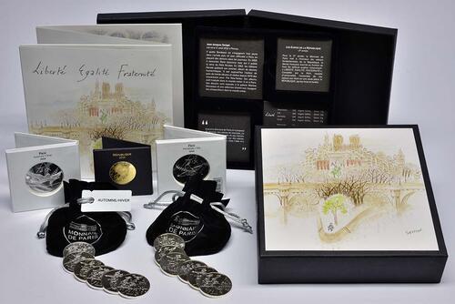 Lieferumfang:Frankreich : 720 Euro Komplettsatz Sempé 1x500 Euro Gold 2x50 Euro Silber, 12x10 Euro Silber  2014 Stgl.