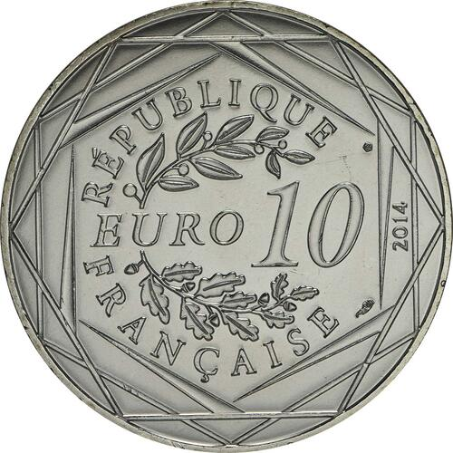 Rückseite:Frankreich : 10 Euro Herbst Fraternité  2014 bfr