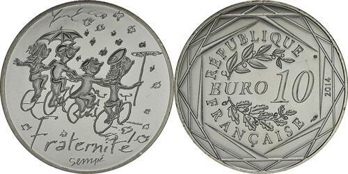 Lieferumfang:Frankreich : 10 Euro Herbst Fraternité  2014 bfr