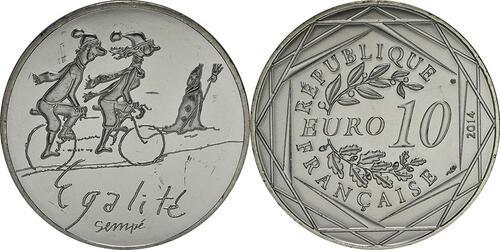 Lieferumfang:Frankreich : 10 Euro Winter Egalité  2014 bfr