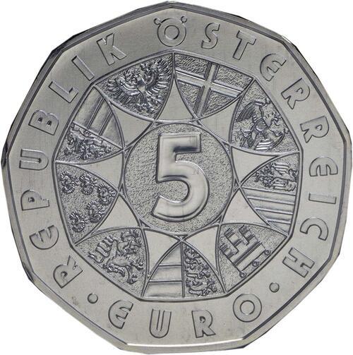 Rückseite:Österreich : 5 Euro Neujahr: Die Fledermaus  2015 Stgl.