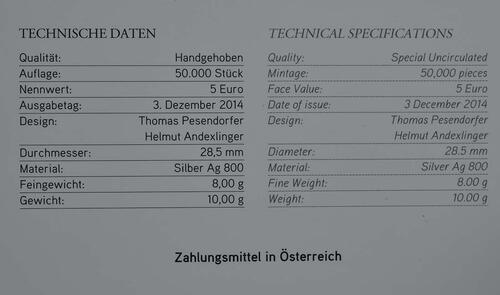 Zertifikat:Österreich : 5 Euro Neujahr: Die Fledermaus  2015 Stgl.