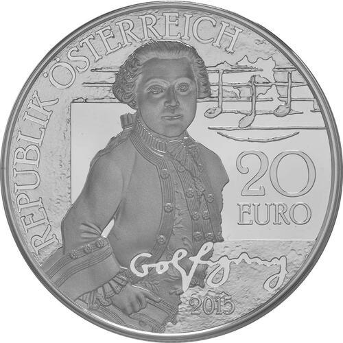 Vorderseite:Österreich : 20 Euro Mozart das Wunderkind  2015 PP